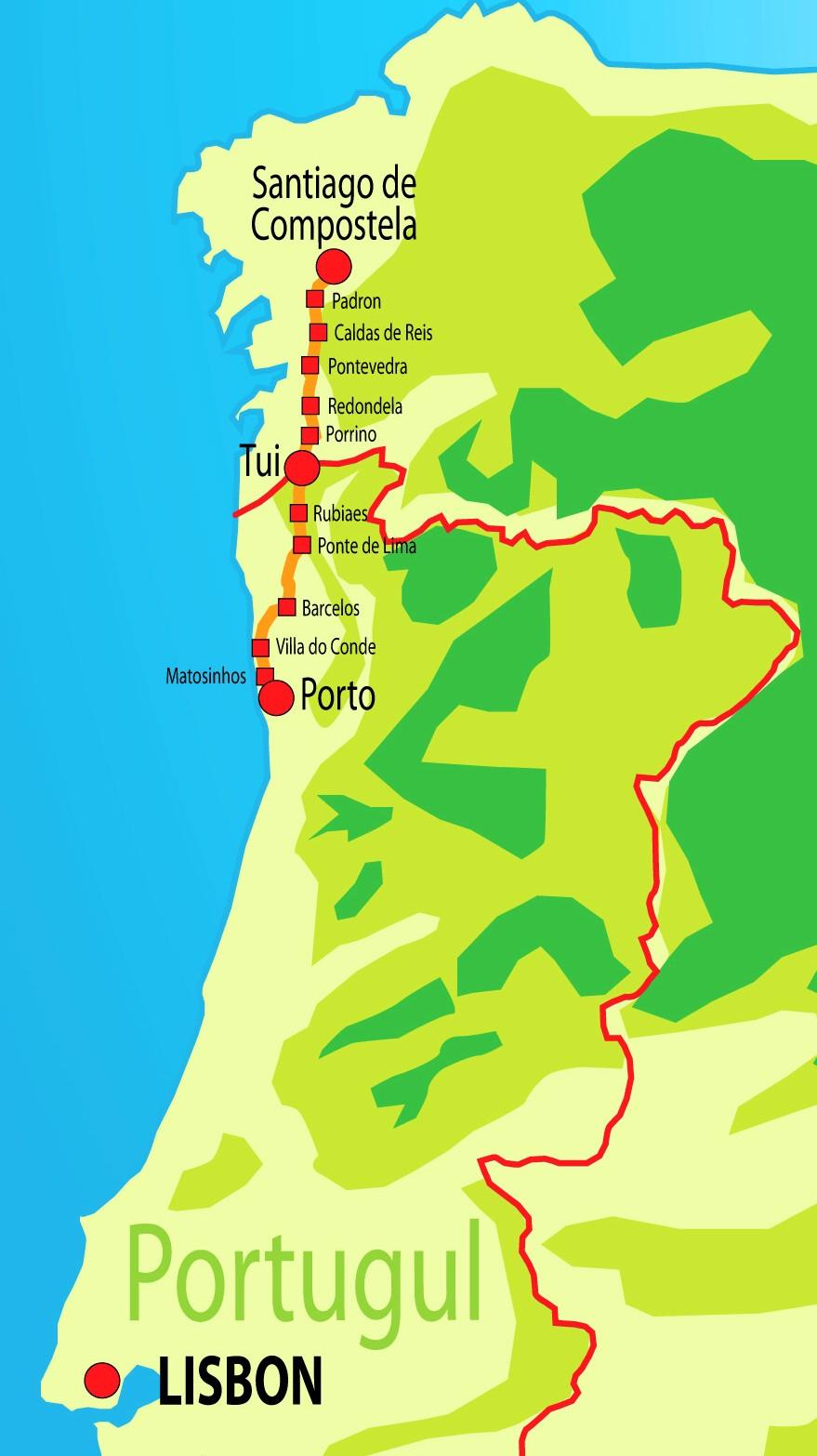Camino De Santiago Walk - Portugal elevation map